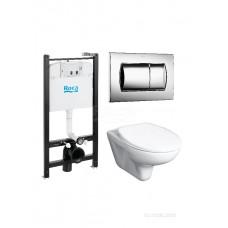 Комплект Roca Mateo Pack 893100010 подвесной унитаз + инсталляция + кнопка + с сиденьем Микролифт