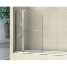 Шторка на ванну распашная с полочками  Royal Glass of Water RGW SC-04 серия Screen 110х150 см стекло прозрачное (Easy Clean)