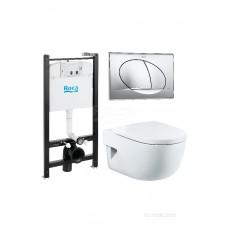 Комплект Roca Meridian Pack 893104110 подвесной унитаз + инсталляция + кнопка +с сиденьем Микролифт