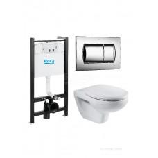 Комплект Roca Victoria Pack 893100000 подвесной унитаз + инсталляция + кнопка + с сиденьем Микролифт