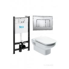 Комплект Roca Dama Senso Pack 893104090 подвесной унитаз + инсталляция + кнопка + сиденье Микролифт